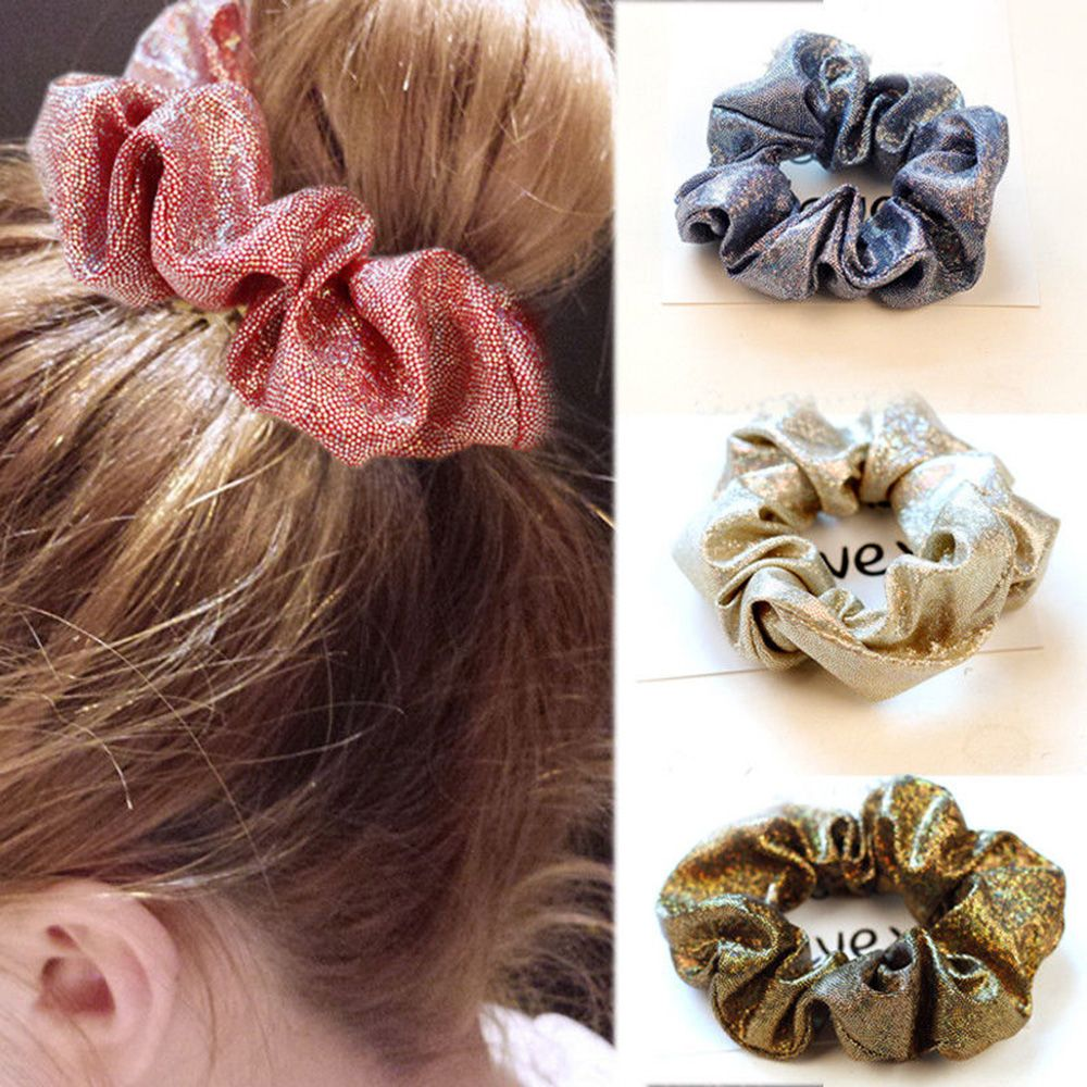 2019 Fashion Sparkling Headband Scrunchies For Women Elastic Soft Stretchy Hair Rope Ponytail Hair Bands Holder Hair Accessories