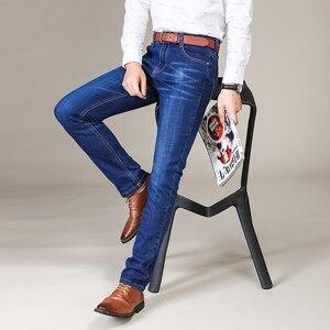 Image 5 - جينز رجال الأعمال على الموضة من Brother Wang بنطال جينز غير رسمي ممشوق ذو قصة ضيقة من قماش الدنيم بنطلون أسود أزرق