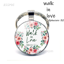 Walk In Love Bible Verse Ephesians Quote Key Chain Glass Jewelry Christian Pendant Key Ring Lover Keychain Valentine's Day Gift the lord is near all who call ont to him bible verse psalm quote key chain glass jewelry christian pendant keyring keychain gift