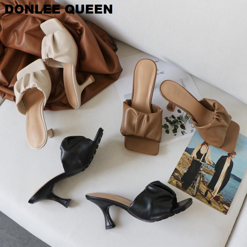 2020 New Design Square Toe Thin High Heel Slippers Women Sandals Fashion Slip On Slides Summer Shoe Mule Pleated Massage Outsole