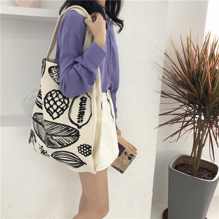 Women Canvas Shoulder Bag Leaf Printing Large Capacity Shopping Bag Lady Eco Pure Cotton Handbag Junior Miss Tote