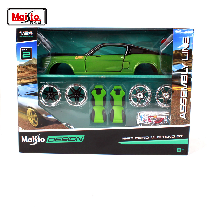 Maisto <font><b>1:24</b></font> 1967 <font><b>ford</b></font> <font><b>mustang</b></font> gt green car diecast sets noble version car model hand-assembled green car toy gift for men 39094 image
