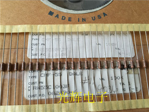 Image 1 - 20PCS USA VISHAY DALE CMF55 0.25W 100K 1% Axial Resistance CMF 55 1/4W 100k RN55 military regulations metal film resistor