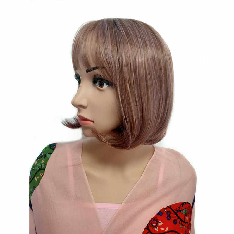 """Pervado Hair 10"""" Short Bob Wigs for Women Synthetic Hair Wig with Bangs Brown Lilac Mix Color Cosplay Daily Party Wig"""