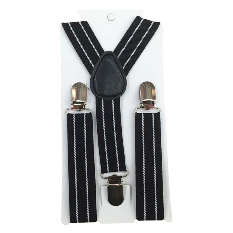 New Boys Girls Stripes Y-Back Suspenders Child Elastic Adjustable Clip-On Braces 2-8Y BB75