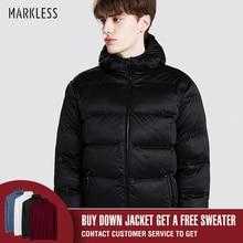 Markless, зимний бесшовный пуховик, брендовая одежда, толстый 90% белый утиный пух, ветронепроницаемое теплое пальто, парка с капюшоном для мужчин и женщин