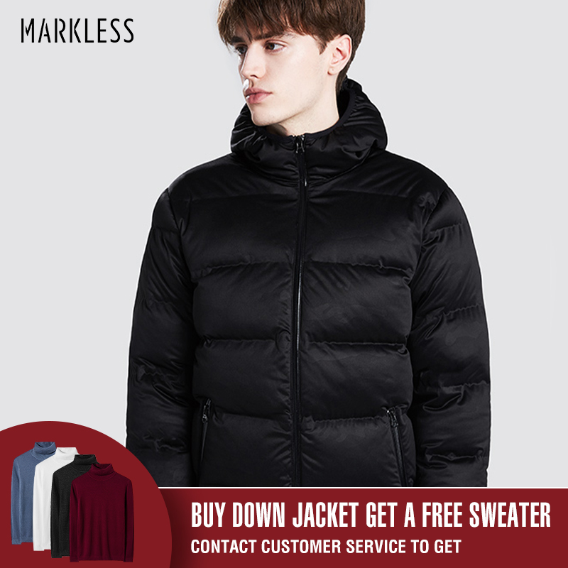 Markless Winter Seamless Down Jacket Brand Clothing Thick 90% White Duck Down Windproof Warm Coat Hooded Parka for Men and Women-in Down Jackets from Men's Clothing