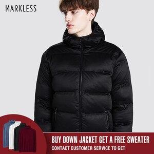 Image 3 - Markless zima bez szwu dół kurtki marki odzież gruba 90% biały puch kaczy wiatroszczelna ciepły płaszcz kurtka z kapturem dla mężczyzn i kobiet