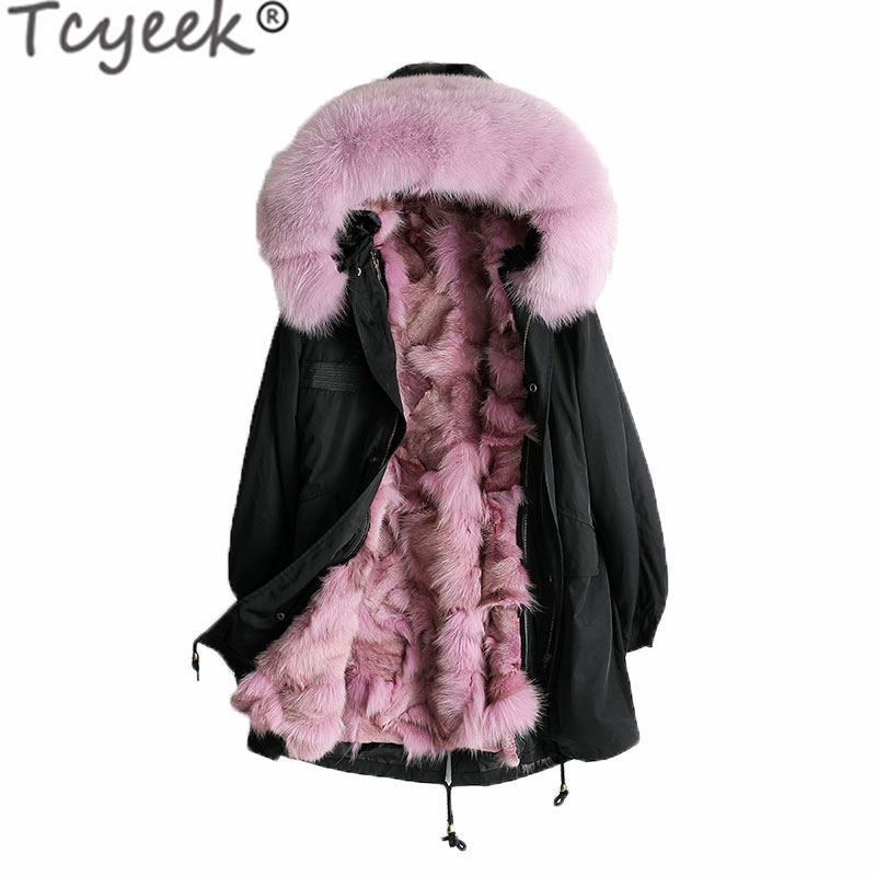 Winter Jacket Coats Outwear Fox-Fur-Collar Korean Natural Women Tcyeek 2748 Liner Hiver