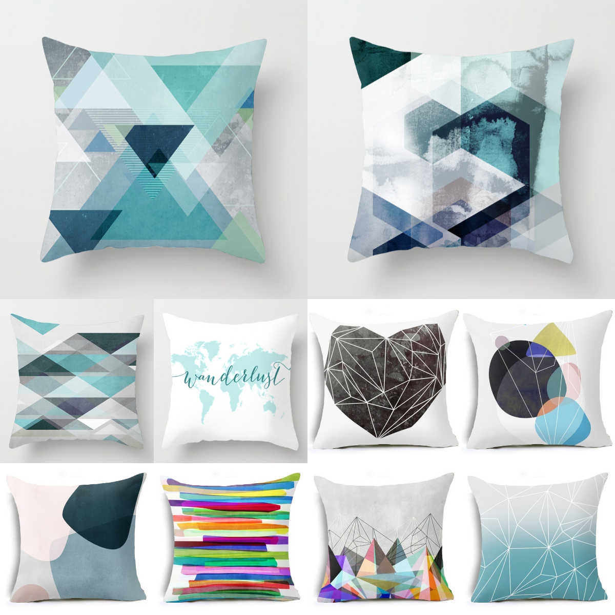 blue geometric pillow case 45 45cm cushion cover polyester cushions for sofa car throw pillow covers home decor throw pillows