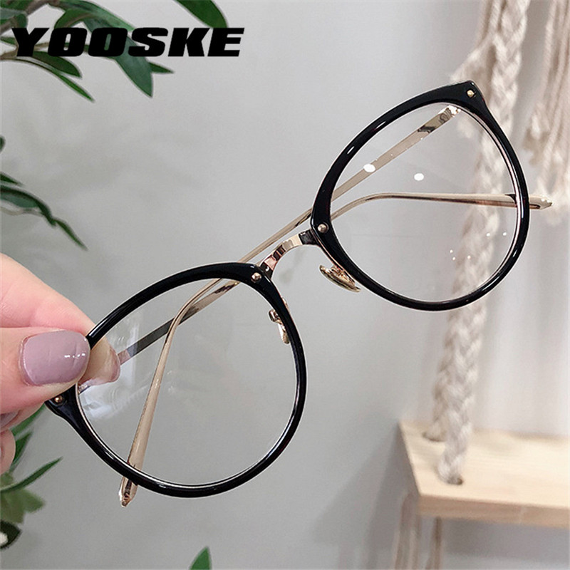 YOOSKE Optical Glasses Frame Women Men Myopia Round Oversized Eyeglasses Frames Metal Spectacles Clear Lenses Glasses With Cloth