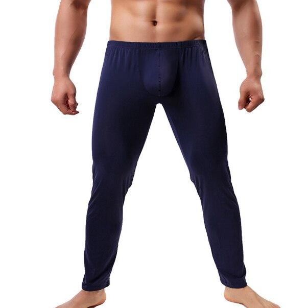 Mens Sleep Bottoms Sexy Ice Silk Big Pouch Pants Ultra-thin Transparent Trousers Fitness Legging Gay Long Lounge Pants Sleepwear