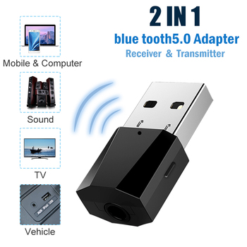 bluetooth 5.0 usb adapter dongle computer pc headphones for speaker car fone audio receiver transmiter tv adaptador 3.5mm mouse image