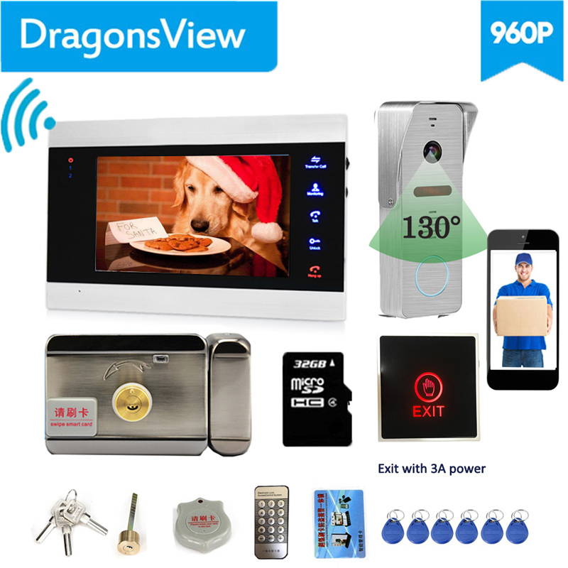【Wide Angle 960P】Dragonsview  7''  Wifi Video Door Phone Intercom System With Lock Door Release Unlock Phone Android And IOS