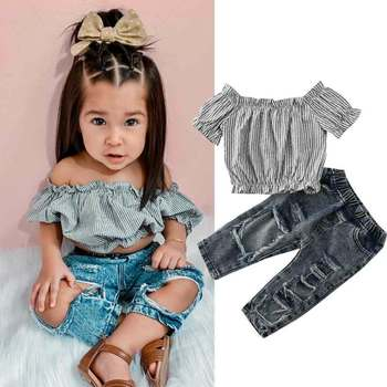 цена CANIS Summer Girl Kid Short Sleeve Off Shoulder Striped Tops + Hole Jeans Pants Sunsuit Clothes онлайн в 2017 году