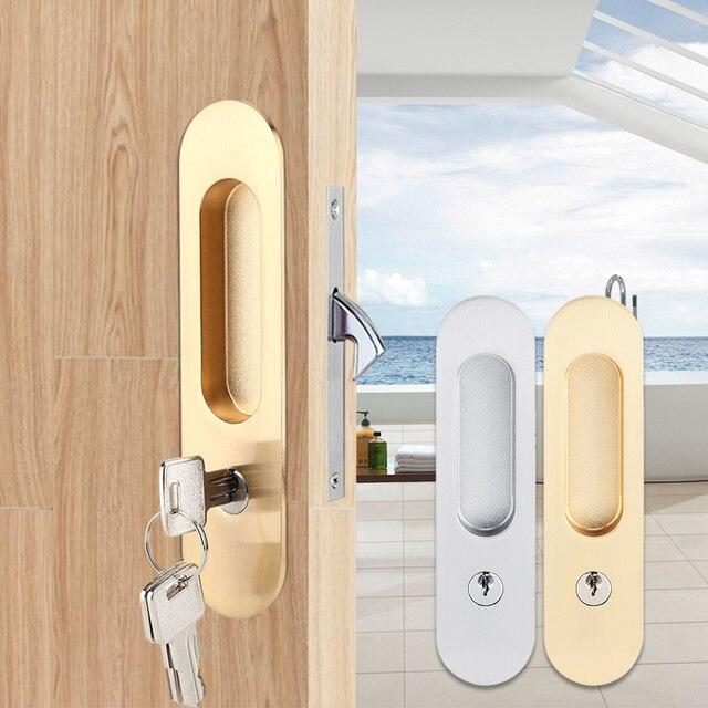 スライドドアロックハンドル盗難防止のためのキー納屋木製家具ハードウェアドアラッチロックダブルドア cerradura