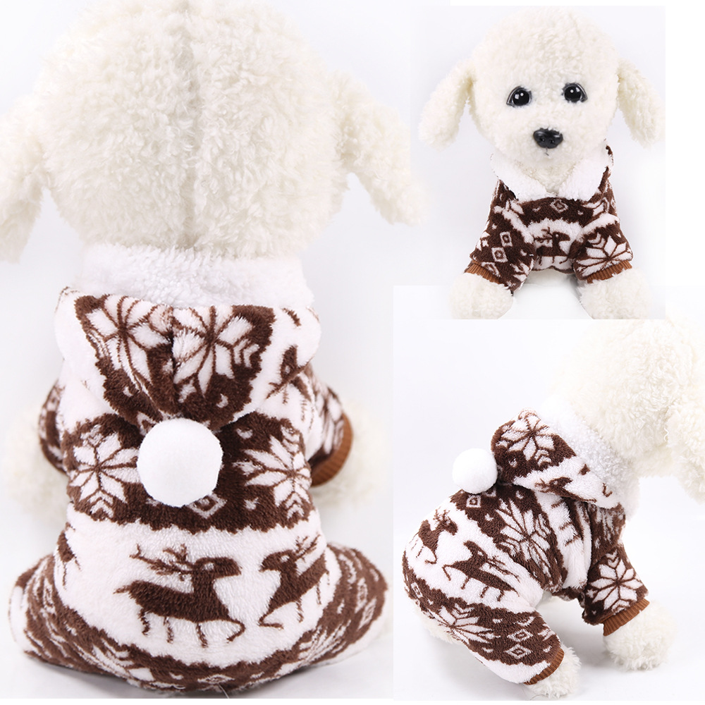 Dog Clothes Pajamas Jumpsuit Winter Pet Clothes Puppy Hoodies Fleece legs Warm Dog Clothing Outfit Small Dog Costume Apparel 10