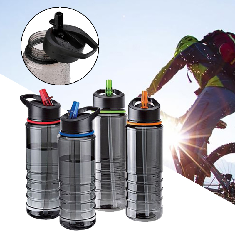 Eco-Friendly 800ML Water Bottle Bicycle Green Belt Cover Hiking Camping Plastic Water Cup Outdoor Kettle Flip Straw Drink image