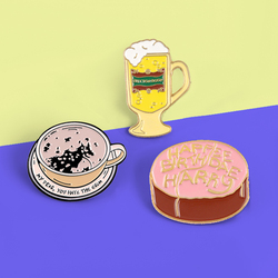 Everyday Food Brooches pins Coffee Beer Cake Enamel pins MY DEAR YOU HAVE THE GRIM Breakfast Food Brooche For Women Jewelry