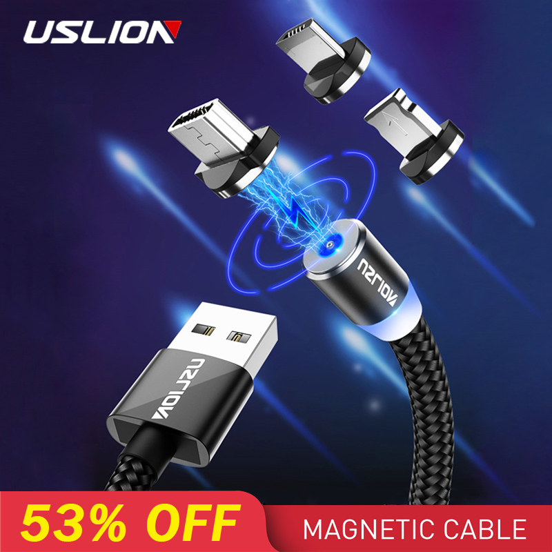 USLION 2M Fast Charging Magnetic Cable Micro USB Type C Charger For iPhone XS X 8 7 Samsung S10 9 Magnet Android Phone Cable 3M-in Mobile Phone Cables from Cellphones & Telecommunications on AliExpress