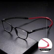 Tr90 독자 독서 안경 남성 여성 자석 휴대용 디옵터 교수형 목 1.0 1.5 2.0 2.5 3.0 3.5