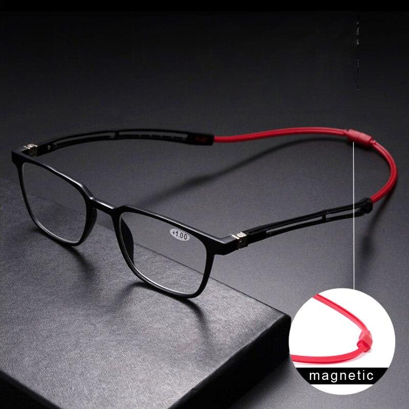 Tr90 Читатели очки для чтения мужские магнитные портативные диоптрии подвесная Шея 1,0 1,5 2,0 2,5 3,0 3,5