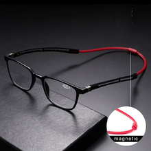 Tr90 leitores óculos de leitura homem feminino ímã portátil diopter pendurado pescoço 1.0 1.5 2.0 2.5 3.0 3.5