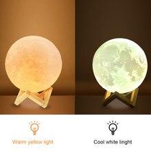 Перезаряжаемая Лунная лампа, 2 цвета, 3D светильник, сенсорный переключатель, 3D печать, лампа, луна, спальня, книжный шкаф, Ночной светильник, креативные подарки
