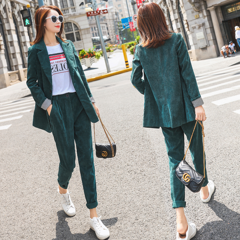 Mozuleva Summer Short Suits For Women Blazer Jacket & Hot Short Female 2 Pieces Casual Suits Pockets Women Corduroy Set 2019