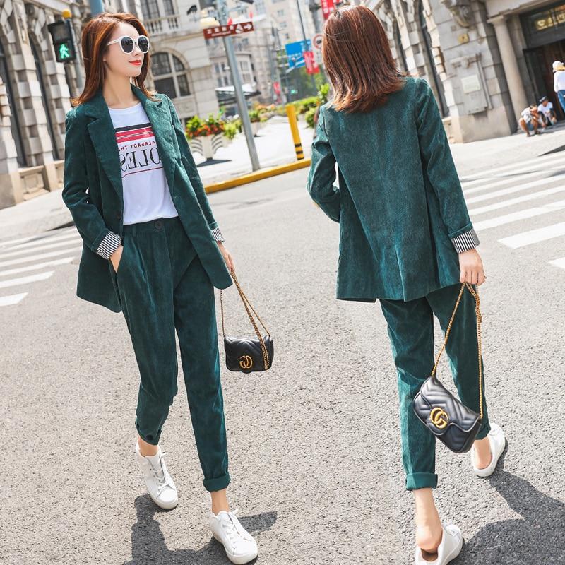 Mozuleva Summer Short Suits For Women Blazer Jacket & Hot Short Female 2 Pieces Casual Suits Pockets Women Corduroy Set 2019
