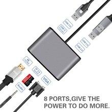 AIREACH USB HDMI Typ c Hdmi mac 3,1 Konverter Adapter Rollenmaschinenlinie Typc zu hdmi HDMI/USB 3.0 2,0/VGA Audio TF Für Apple Macbook adapter
