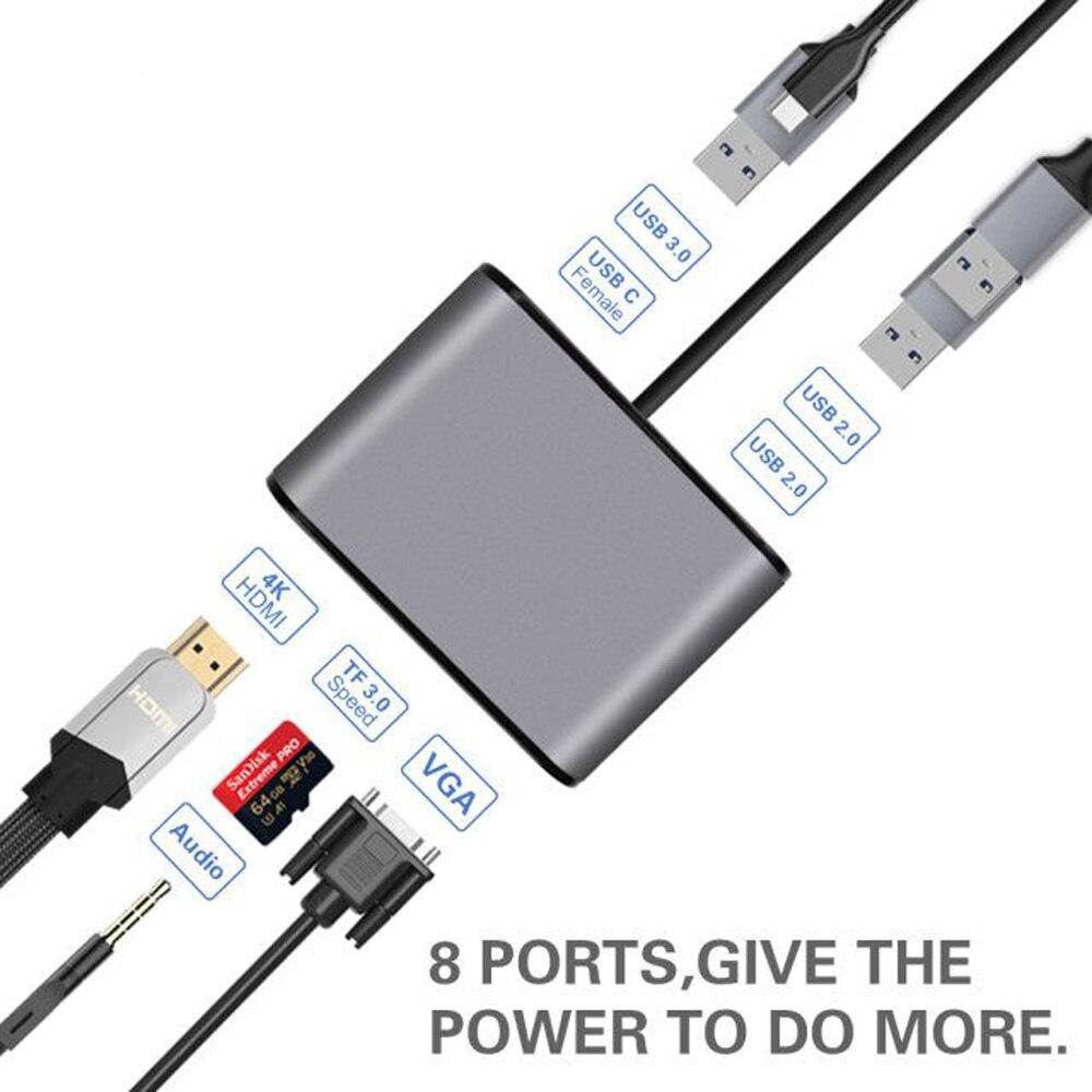 AIREACH USB HDMI Type C Hdmi Mac 3.1 Converter Adapter Typec To Hdmi HDMI/USB 3.0 2.0/VGA  Audio TF For Apple Macbook Adapter