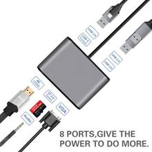 AIREACH USB HDMI typ c Hdmi mac 3 1 konwerter Adapter Typec na hdmi HDMI USB 3 0 2 0 vga audio TF dla Apple Macbook adapter tanie tanio TYPE-C Czytnik kart W połączeniu Typu FX-PD76 7*5*2cm Output USB3 0*1+USB2 0*2+ HDMI 4k@30Hz+ VGA +Audio+TF USB hub support hot-swappable plug and play