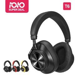 سماعات رأس بلوديو T6 النشطة لإلغاء الضوضاء سماعة لاسلكية تعمل بالبلوتوث مع ميكروفون للهواتف والموسيقى