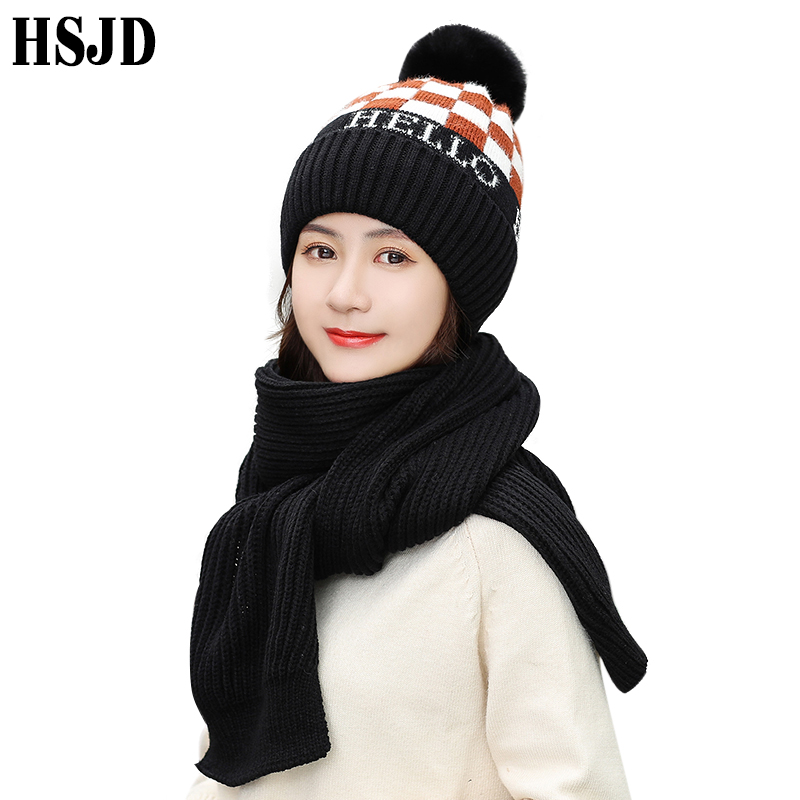 Winter Women Beanies Hats Plaid Knitted Scarf Hat 2 Pieces Set Wool Lining Warm Female Skullies Thick Snow Cap Scarves 2pcs Set