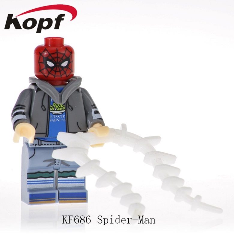 20Pcs KF686 Super Heroes Spider-man Captain Avengers Anti-Venom Deadpool Captain American Bricks Figures Dolls Toys For Children image