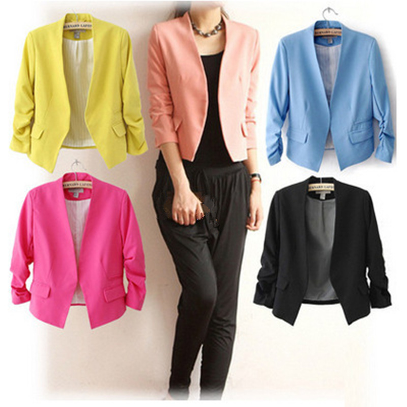 Blazer Women OL Office Work Casual Jacket Lady Solid Cardigan Female Tops Blazer Suit Short Coat Puff Sleeve Casual Work Wear