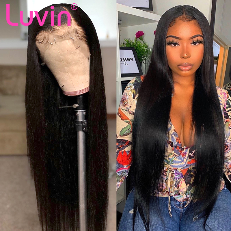 Luvin 250 Density 28 30 Inch Straight 13x6 Lace Front Human Hair Wigs For Women Brazilian 360 Frontal Wig Pre Plucked With Baby