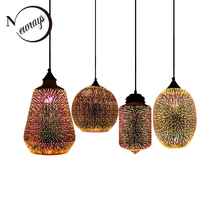 Lámpara colgante con pantalla de cristal colgante de cielo estrellado romántico colorido 3D moderno, accesorio de luces E27 para dormitorio, restaurante y sala de estar