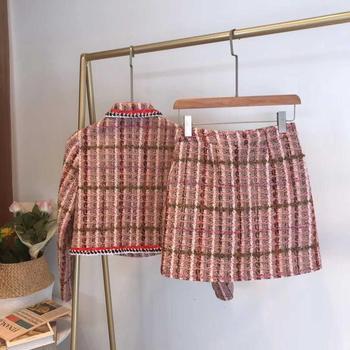 Plaid Wool Jacket | 2019 Winter Women Pink Plaid Tweed Jacket Skirt Set High Quality Designer Single Breasted Wool Coat & One Step Skirt 2 Piece Set