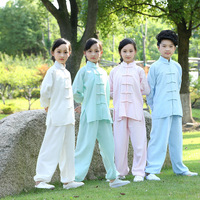 2PCS Kung Fu Clothing Set Children Taiji Suit Chinese Style Kids Short Sleeve Long Sleeves Sets Boys Gongfu Clothes Girls Suits