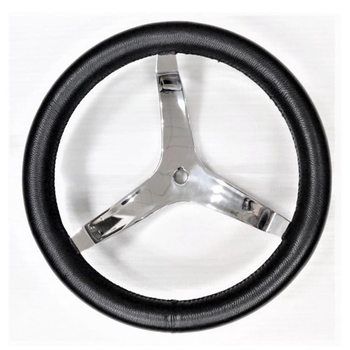 "340mm Boat Steering Wheel Black Leather  3 Spoke 3/4"" Tapered Shaft For Marine Vessels Yacht Speedboat Boat Accessories Marine"