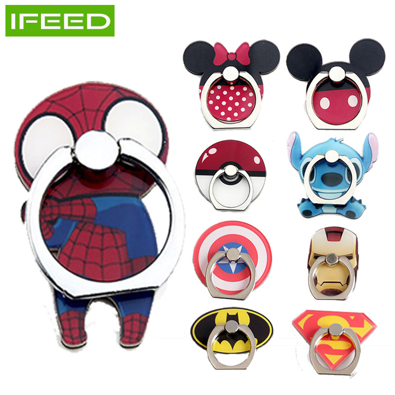 Collapsible Phone Ring Holder Finger Kickstand For IPhone Socket Mickey Marvel 360 Rotation Metal Grip Car Mount