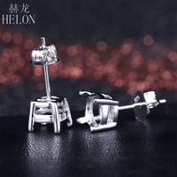 HELON Sterling Silver 925 Round 6.5mm Semi Mount Stud Earrings Fine Jewelry Lady Engagement Wedding Earrings Prong Set