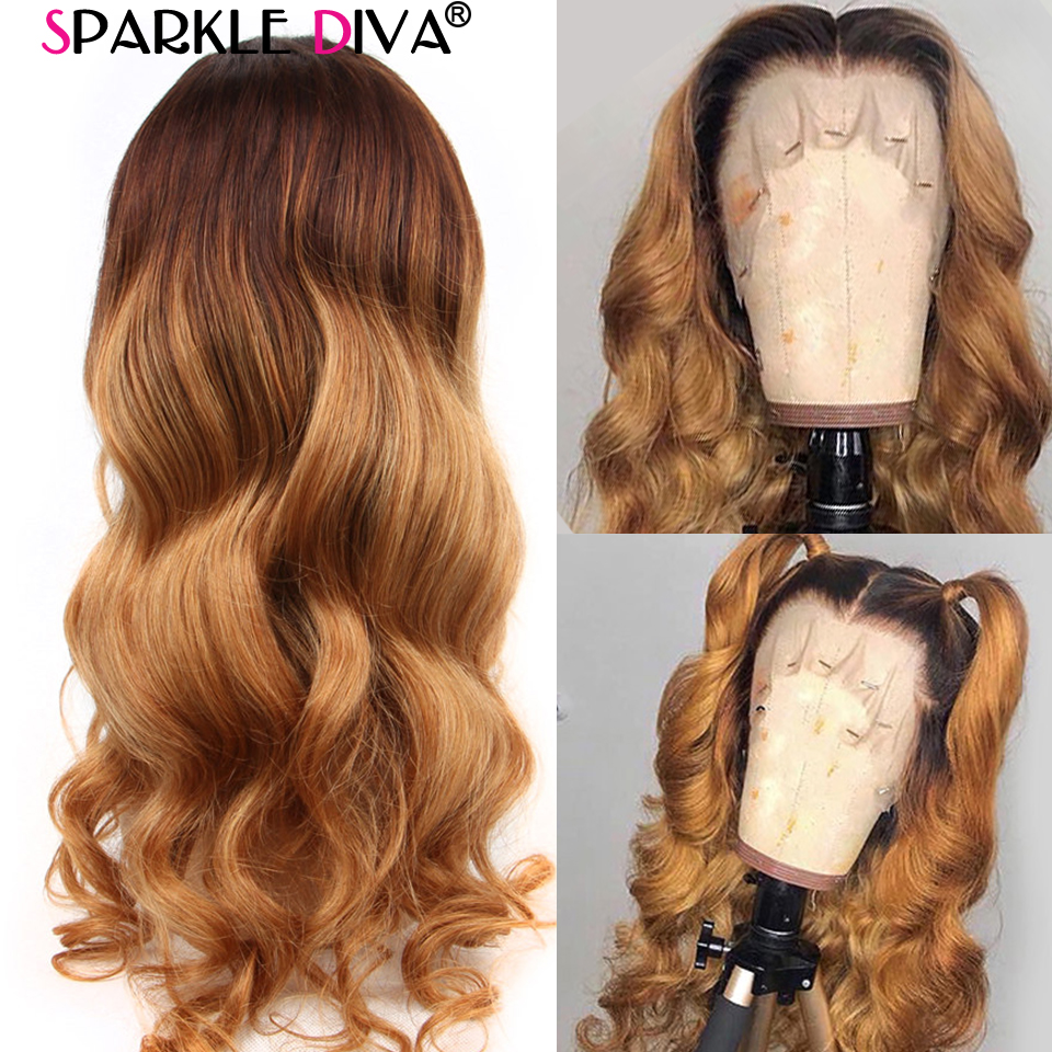 Ombre Blonde Lace Front Human Hair Wigs With Baby Hair Malysian Body Wave Lace Wigs #4/27 Remy 13x4 Lace Front Wig Pre Plucked