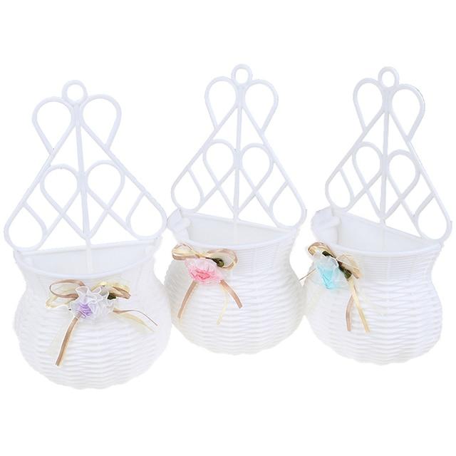 Artificial Flower Hanging Basket Vase Rattan Wall Hanging Small Artificial Rattan Flower Basket For Home Decoration Color Random 6