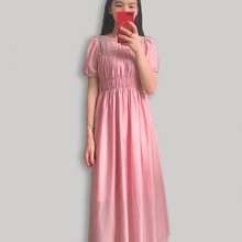 French retro bubble sleeve dress with slim waist and belly covering Fairy Dress