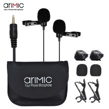 AriMic Dual Kopf Clip auf Revers Mikrofon Lavalier Kugelcharakteristik kondensatormikrofon Aufnahme Mic für iPhone Sumsang DSLR Kamera Telefon