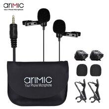 AriMic double tête pince sur micro cravate Lavalier omnidirectionnel condensateur enregistrement micro pour iPhone Sumsang DSLR appareil photo téléphone