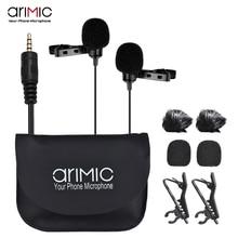 Микрофон AriMic на лацкане с двумя головками, петличный всенаправленный конденсаторный записывающий микрофон для iPhone, цифровой зеркальной камеры, телефона Sumsang